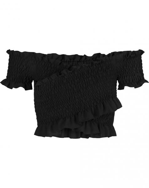 FRILL SMOCK TOP BLACK