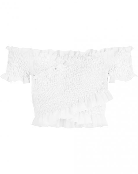 FRILL SMOCK TOP WHITE