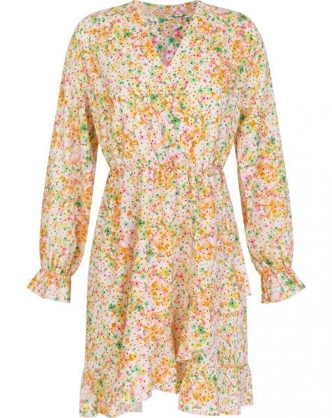 ORANGE FLOWERS WRAP DRESS