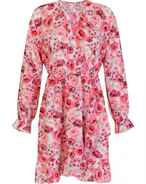 PINK ROSES WRAP DRESS