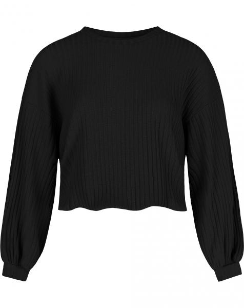 RIBBED BALLOON SLEEVE SWEAT BLACK