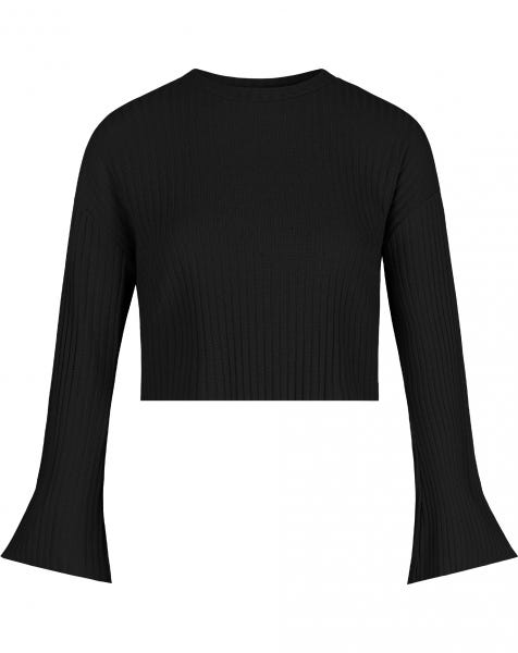 FLARED SLEEVES CROP SWEAT BLACK