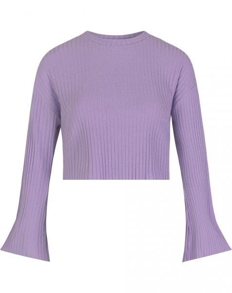 FLARED SLEEVES CROP SWEAT LILA