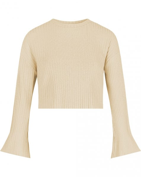 FLARED SLEEVES CROP SWEAT SAND