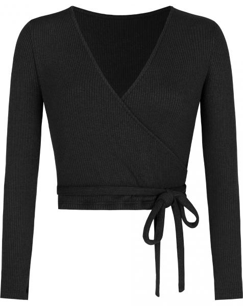 GRACE WRAP TOP BLACK