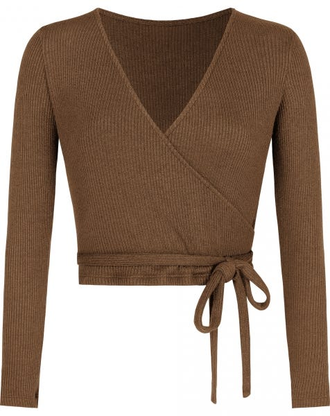 GRACE WRAP TOP CAMEL