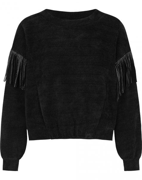 JAIMY FRINGE SWEAT BLACK