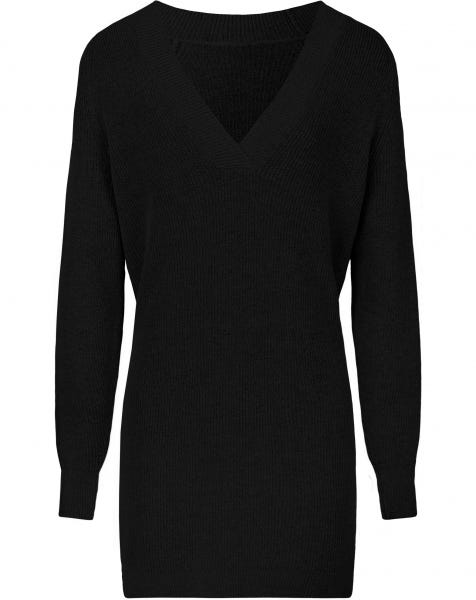 DEEP V KNIT DRESS BLACK