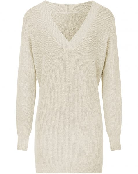 DEEP V KNIT DRESS CREAM