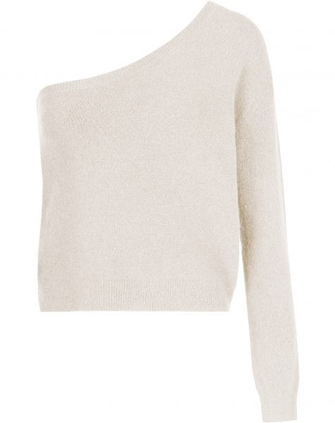 ONE SHOULDER KNIT CREAM