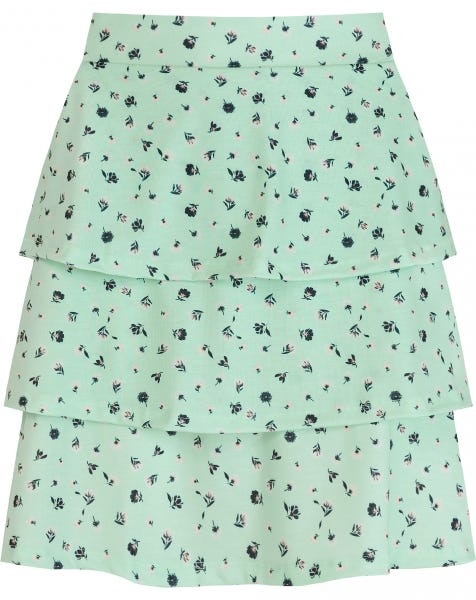 FLOWER RUFFLE SKIRT MINT