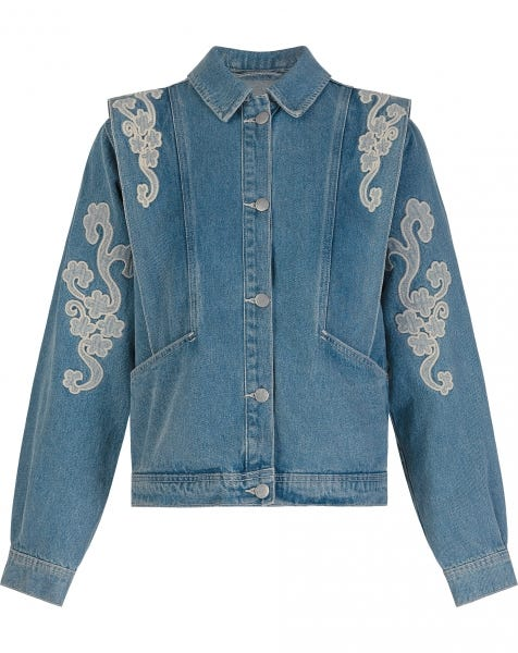 MW LACE DENIM JACKET BLUE