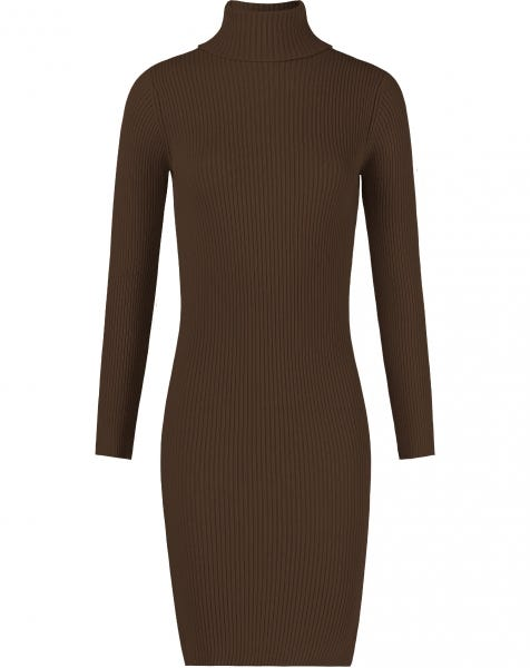COL SLIT DRESS BROWN