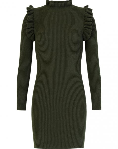 RUFFLE COL DRESS ARMY