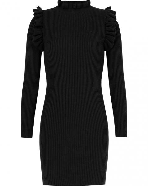 RUFFLE COL DRESS BLACK
