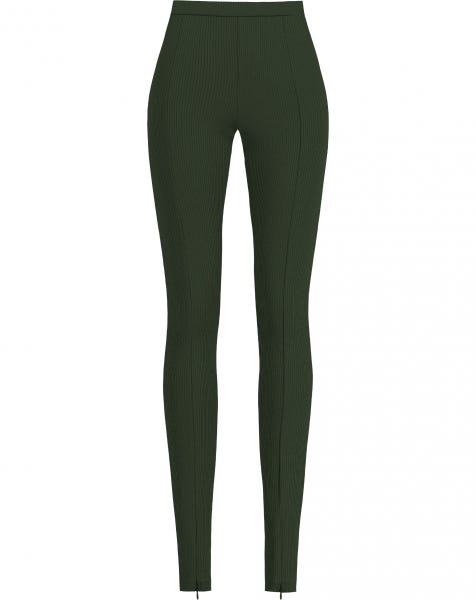 RIBBED ZIPPER LEGGING ARMY