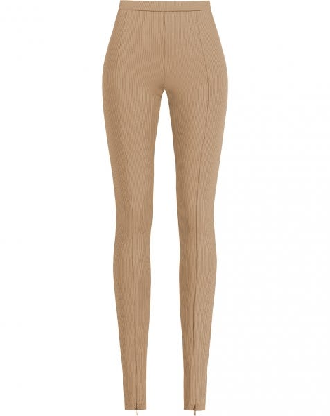 RIBBED ZIPPER LEGGING SAND
