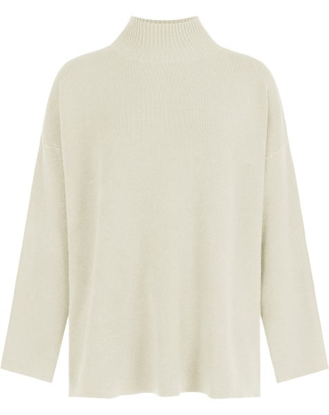 JAYLEE COL KNIT ALMOND