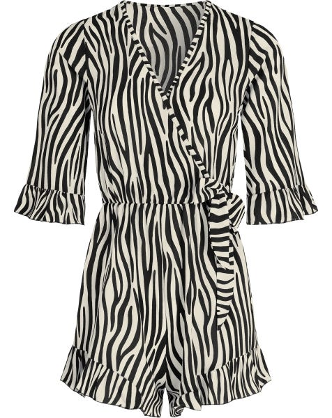 RUFFLE WRAP PLAYSUIT ZEBRA