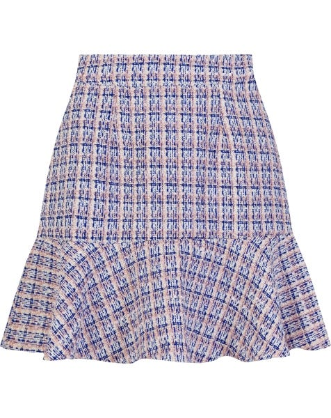 BOUCLE PEPLUM SKIRT BLUE CHECK