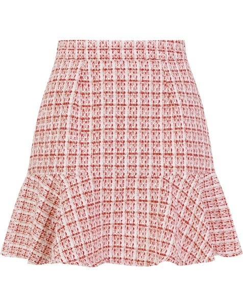 BOUCLE PEPLUM SKIRT RED CHECK