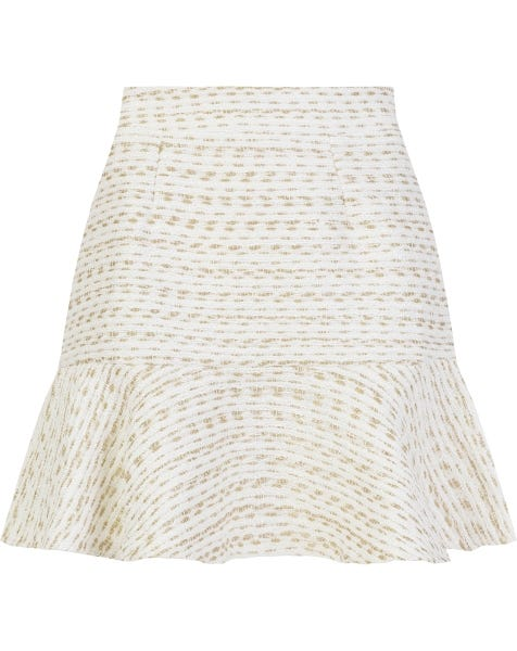 BOUCLE PEPLUM SKIRT WHITE GOLD