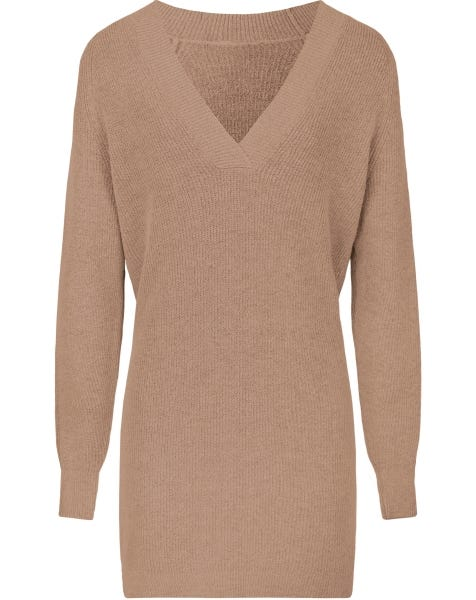 DEEP V KNIT DRESS TAUPE