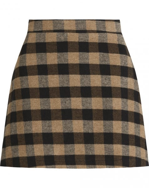GWEN CHECK SKIRT BEIGE